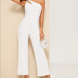 Double Strappy One Shoulder Wide Leg Jumpsuit